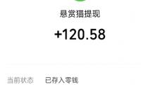 在家用手机就能赚钱的悬赏猫,今天又提xian100多元